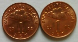Second Series 1 sen coin 2002 2 pcs