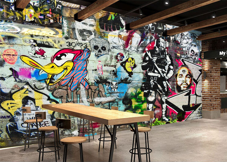 3D Graffiti Canard2 Photo Papier Peint en Autocollant Murale Plafond Chambre Art