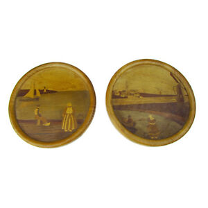 Art-deco-wooden-marquetry-round-pictures-intarsia-coastal-landscapes