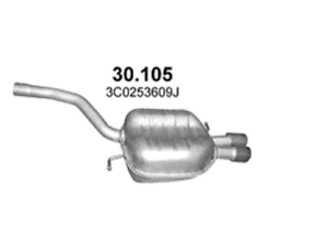 Endschalldämpfer Endtopf hinten Auspuff Passat 2.0 Variant TFSI 2005-2010 147KW