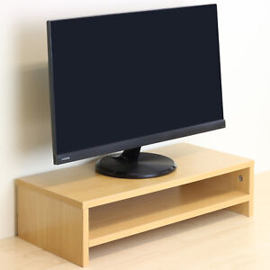 2-Tier-Beech-Effect-Monitor-Riser-Stand-MDF-Wood-Computer-PC-TV-Shelf-Display