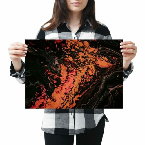 Orange Black Fluid Abstract Painting Poster 42X29.7cm280gsm #45936 A3