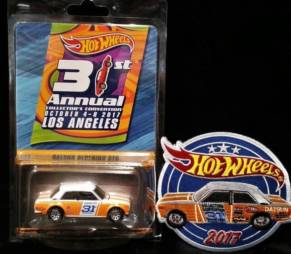 Hot Wheels Datsun blueebird 510 2017 Los Angeles 31st Convention Car + Patch VHTF