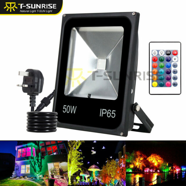 50w Rgb Led Flood Light Spotlight 16 Color Outdoor Garden Lamp Remote Plug Ip65