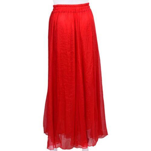 rouge O6I8 Jupe en mousseline de soie retro longue pour Femmes