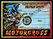 20 Motocross / Motorbike / Speedway / Birthday Party Invite / Invitations