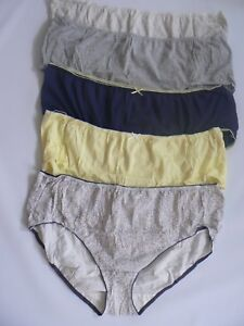 M /& S Ladies 5 Pack Cotton Lycra Midis Briefs Knickers Underwear Size 26