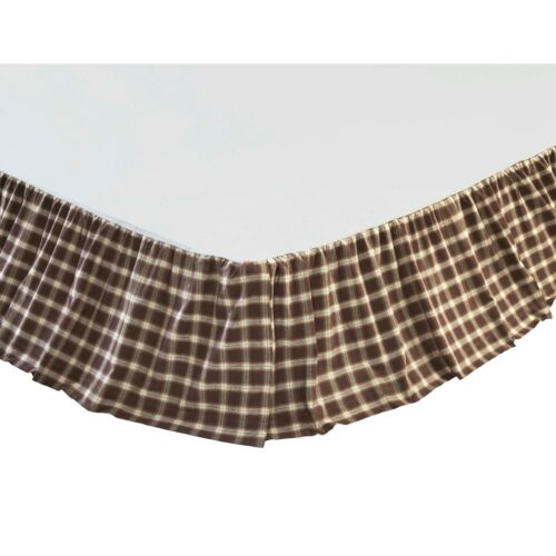 RORY Queen Bed Skirt Windowpane Plaid Farmhouse Rustic Cabin Country Brown//Creme