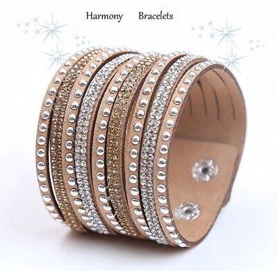 Tan Swarovski Elements Rhinestone Sparkle Bracelet by Harmony Bracelets