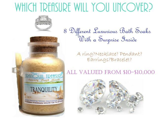 Tranquil Treasure Bath Soak W/ Solid Sterling/Gemstone Jewelry+10K PEACE OF MIND