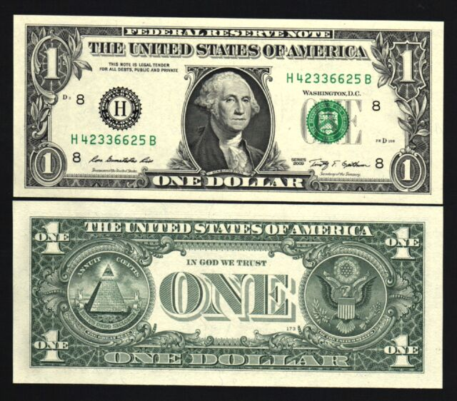 United States Usa 1 Dollar 2009 Washington Unc H Money Bank Note