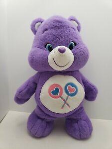 Large-20-034-Care-Bears-Purple-Share-Bear-Lollipop-Candy-Tummy-Stuffed-Plush-Sweet