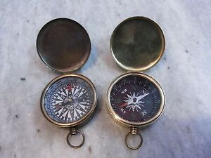 Antique-Nautical-Vintage-Brass-Marine-Pocket-Lid-Compass-Gift-Set-Of-Two