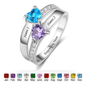 518f2caad7 Image is loading Personalized-Engraved-Name-Heart-Stone-Couple-Ring-Promise-
