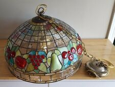 """Large 19 1/2"""" W Acrylic Faux 'Fruits' Stained Glass Hanging Lamp"""