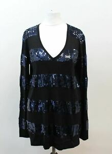 MAX-MARA-STUDIO-Ladies-Black-Blue-Silk-Blend-V-Neck-Sequin-Striped-Jumper-M