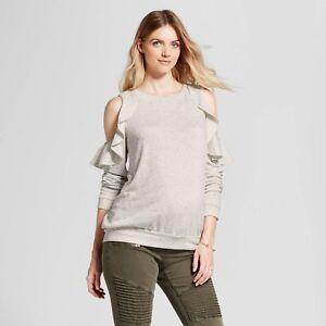 fd4d35ad1c4d2f Image is loading Isabel-Maternity-Cold-Shoulder-Ruffle-Sweatshirt-Cream- Beige