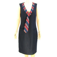 Love Moschino Size 10 M Dress Navy Blue/Gray Stripes Wool Bld Red Contrast Tie