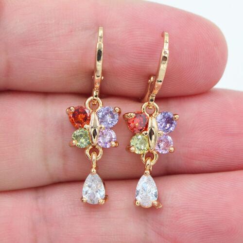 18K Yellow Gold Filled Women rainbow Topaz Butterfly Dangle Boucles d/'oreilles Bijoux