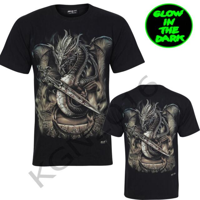New Mens Chinese Dragon Sword/Skull/Tattoo Glow In Dark Both Side Print Gothic