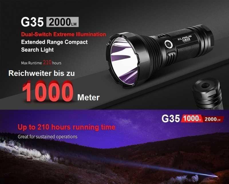 Klarus G35 LED Handscheinwerfer Taschenlampe 2000 Lumen bis 1000 Meter + Halter