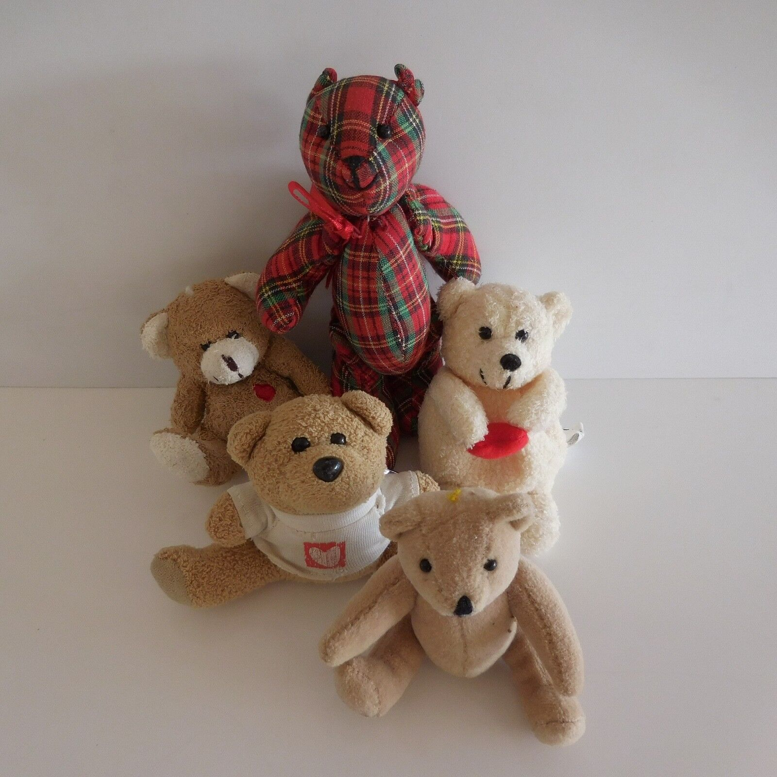 Lot de 5 doudous nounours figurines peluches vintage design estampe PN France