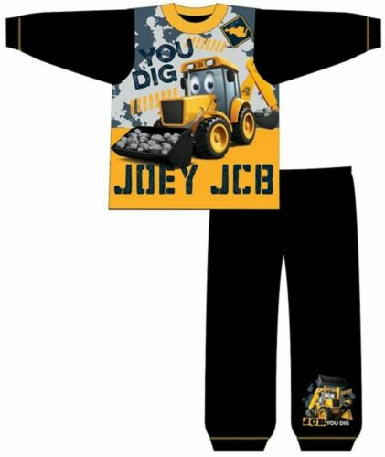 Boys Jcb Joey Diggers Builders Pyjamas Pjs Full Length PJ Infant Nightwear Kids