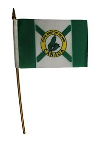 "CAPE BRETON Country 4/"" X 6/"" Inch  Mini STICK FLAG With 10/"" PLASTIC POLE . New"