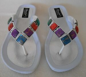 21b3307b8eff3d ... Image is loading WHITE-GRANDCO-SANDALS-STAINED-GLASS-GEMSTONES-Bling ...