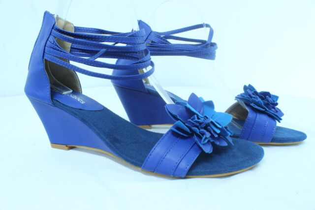 Women's Instep One Flower Sandals- Mid Wedge Heel, Ankle Strap shoes 5~11 Blue