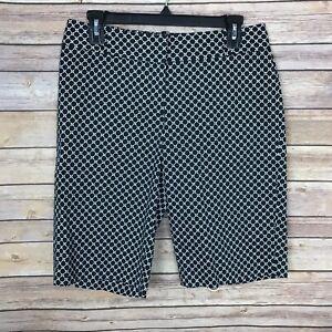 Talbots-Womens-4-Black-Printed-Bermuda-Short-Mid-Rise-Cotton-Stretch-Black-White