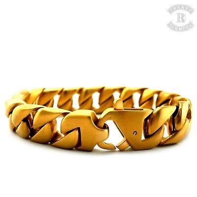 Edelstahl Panzerarmband gold brushed Rocker Biker Männer Schmuck Armband A-027