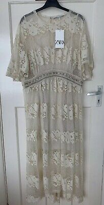 ZARA LIMITED EDITION SEMI-SHEER BEAD EMBROIDERED DRESS BEIGE-PINK SIZE XS-S