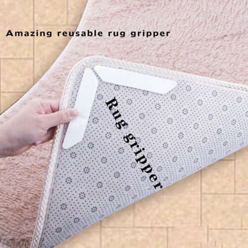 Set of 8 pcs Anti-Curling Rug Gripper Ideal Anti-Slip Rug Pad for Home Bath Rugs