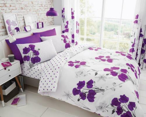 Luxuries POPPY Floral Printed Duvet Cover With Pillow Case Bedding Set All Size