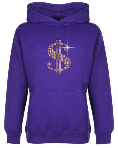 Dollar Sign Rhinestone//Diamante Embellished Kids/' Hoodie 3 to 13 Years Unisex