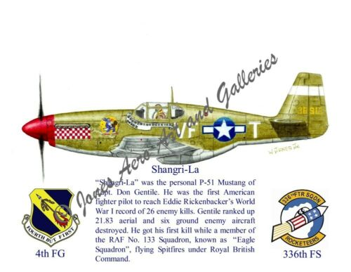 "4FG Capt Don Gentile/'s P-51B Mustang /""Shangri-La/"" Giclee Prints by Willie Jones"