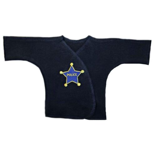 4 Preemie and Newborn Infant Sizes Police Officer Navy Blue Baby Boy Shirt