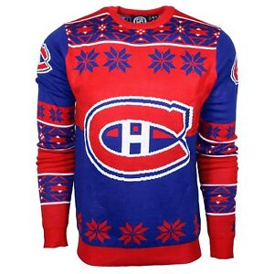 hot sale online 30f5c cd04a Details about Officially Licensed NHL Montreal Canadiens Men's Ugly  Christmas Sweater - S
