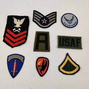 Lot of  8  Military Patches Air Force Navy Army