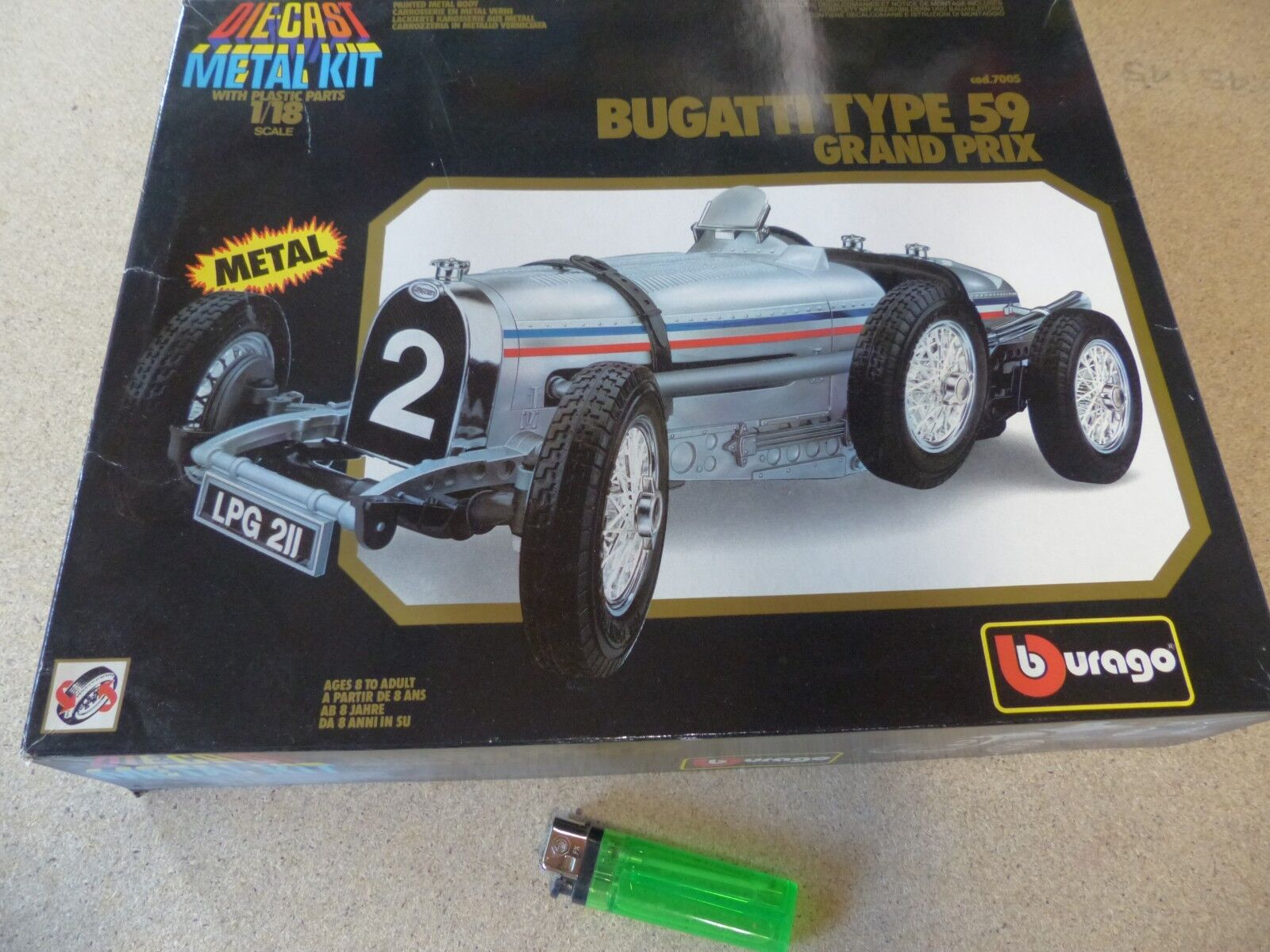 BBURAGO 1 18 - 7005-METAL KIT-Bugatti Type 59 Gre Prix OVP NOS nuovo argentoo