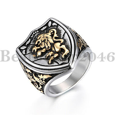 Men/'s Lion Head Ring Silver Black Stainless Steel Gothic Biker Size 7-13