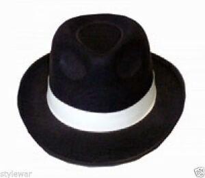 Men Adult Black Gangster Mafia Hat Felt Trilby Fedora Al Capone Gangster Hat 5055962025900 Ebay