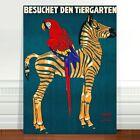 "Vintage Zoo Advertising Poster Art ~ CANVAS PRINT 8x12"" Zebra macaw Teal"