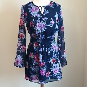 CHELSEA-amp-VIOLET-Womens-Sz-S-Black-Floral-Dress-Smocked-Waist-Romantic-Lng-Slvs