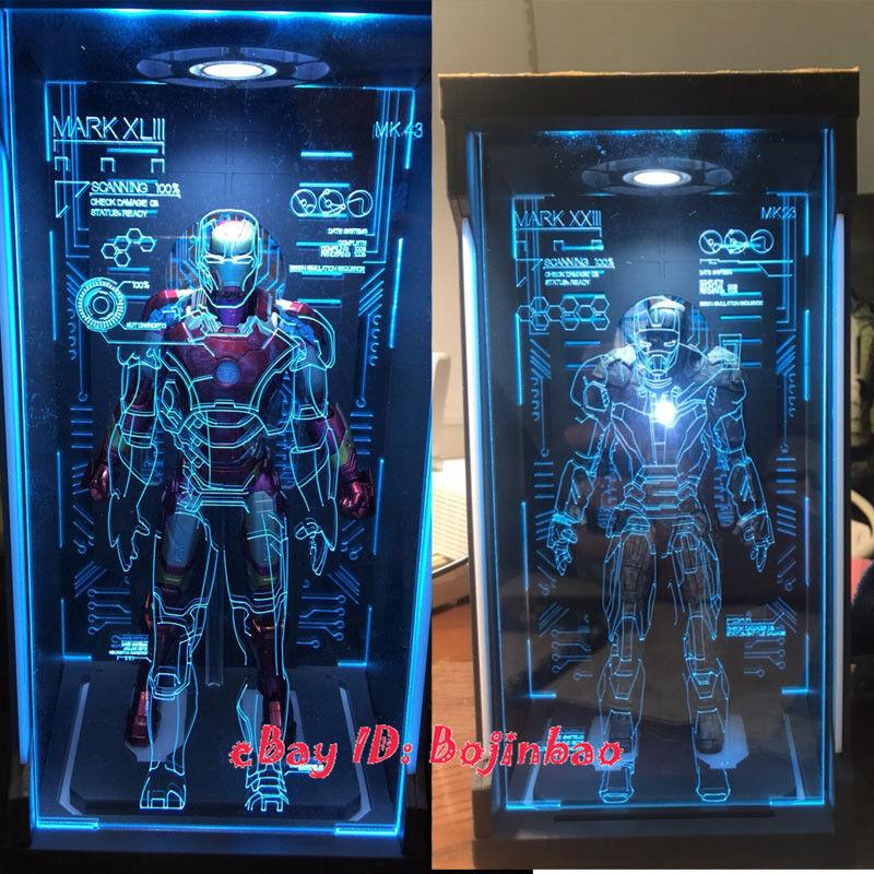 consegna veloce 1 12 Scale Iron Iron Iron uomo Htutti of Armor Display scatola Dustproof mostrare Case Led Hologram  la vostra soddisfazione è il nostro obiettivo