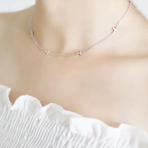 Solid-925-Sterling-Silver-Mini-Horizontal-Sideways-Multi-Cross-Pendant-Necklace