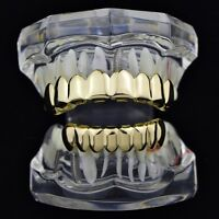 Grillz Set Gold Finish Eight 8 Top Teeth & 8 Bottom Tooth Plain Hip Hop Grills