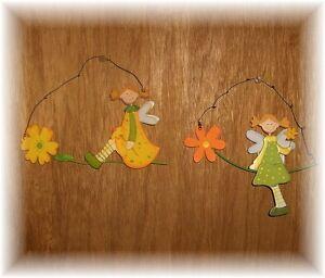 ... Holz Metall Haenger Blume Elfe Blumenkind Gelb Fenster