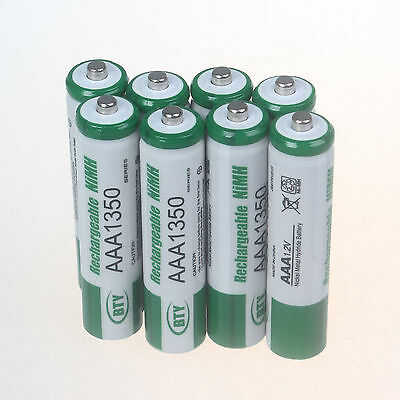 8 Pcs 3A 1350mAh 1.2V AAA Size Ni-MH Rechargeable Battery Cell RC BTY